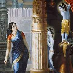 baby Krishna shown stealing butter